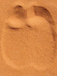 otisk velbloudí nohy v písku